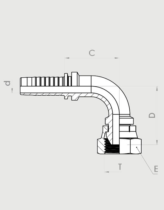 سرشیلنگی پرچی زانویی (ZEC) مدل DKR-90°