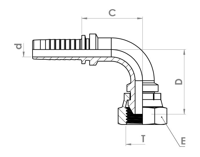 سرشلنگی پرچی زانویی (ZEC) مدل DKR-90°