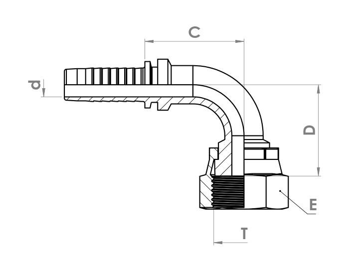 سر شیلنگ زانویی هیدرولیک ZEC مدل 90° ORFS