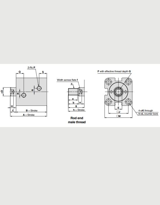 سیلندر هیدرولیک کامپکت SMC سری CHKG